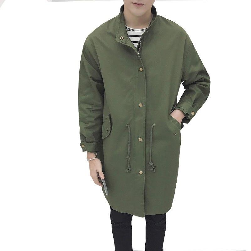 2017 Армейский зеленый Стильная удлиненная куртка пальто Для мужчин хлопок стенд воротник Для мужчин S Куртки и Пальто для будущих мам Повсед... ...
