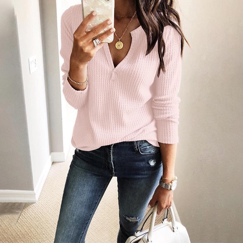 2019 Autumn Women Fashion Elegant Leisure Knitting Blouse Female Solid V Neck Long Sleeve Casual Top