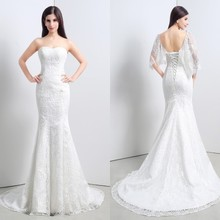 2016 New Arrival Hign Quality Mermaid Wedding Dress 100% Real Image Sweetheart Sleeveless Lace Up Back Lace Wedding Gowns ZY223