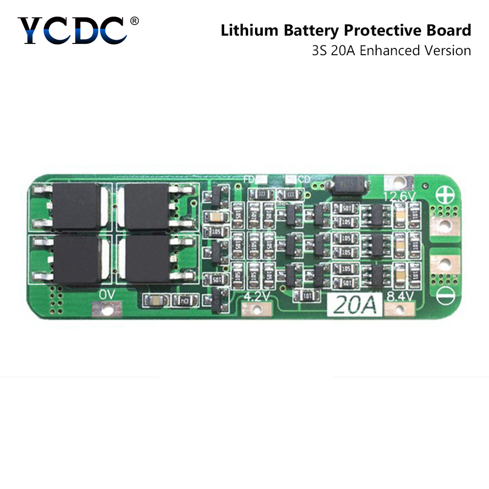 YCDC 3S 20A Li-ion Lithium Battery 18650 Charger Protection Board PCB BMS 12.6V Cell Charging Protecting Module