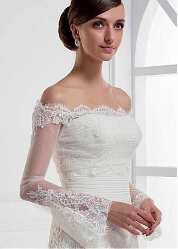 custom made perle longue manches de mariage vestes off paule blanc dentelle bolero veste de mariage - Bolero Mariage Blanc