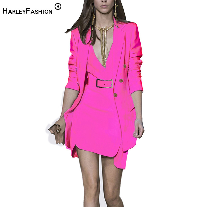 HarleyFashion 2019 New Arrival Fashionable Women s Set Jacket Dress inside Whit Belt Temperament Tunic Suit