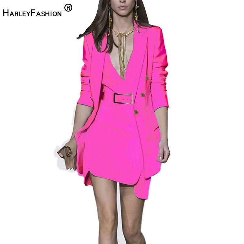 HarleyFashion 2019 nueva llegada conjunto de chaqueta de mujer de moda vestido dentro de Whit cinturón temperamento túnica traje-in Conjuntos de mujer from Ropa de mujer    1