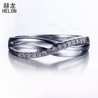 Real 925 Sterling Silver Pave Genuine Natural Diamonds Engagement Wedding Ring Band Half Eternity Women Trendy