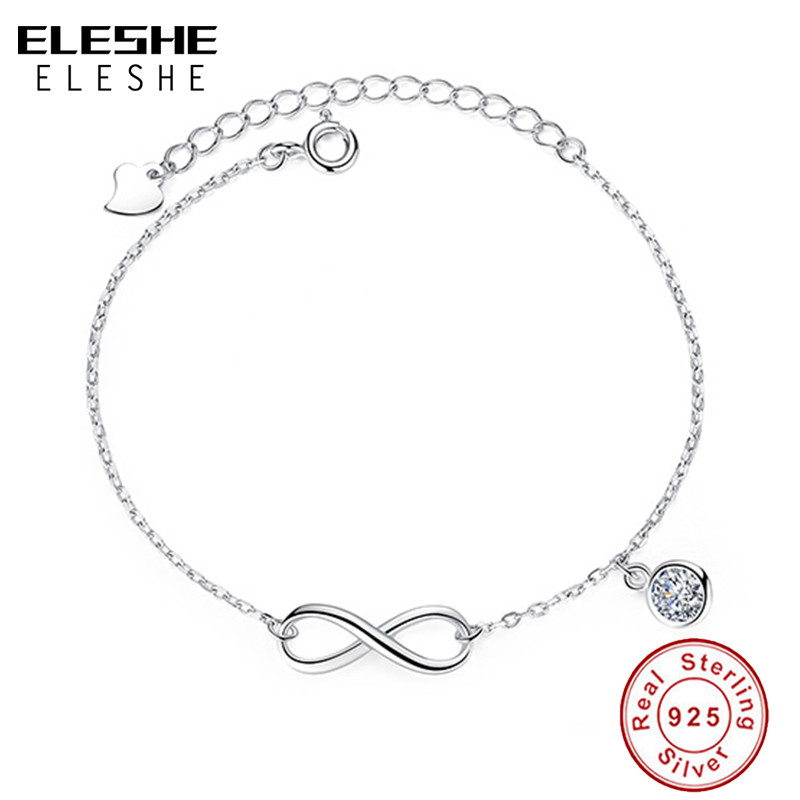 ELESHE 925 Sterling Silver Infinity Bracelet Pulseras Jewelry With Austrian Crystal Adjustable Chain Charm Bracelet Wedding GiftELESHE 925 Sterling Silver Infinity Bracelet Pulseras Jewelry With Austrian Crystal Adjustable Chain Charm Bracelet Wedding Gift