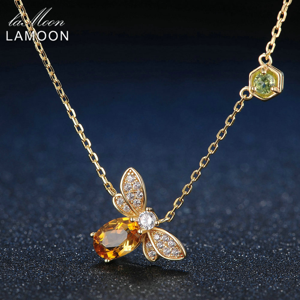 LAMOON Bee 5x7mm 1ct 100% Natural Citrine 925 Sterling Silver Jewelry S925 Jewelry Set V027-4