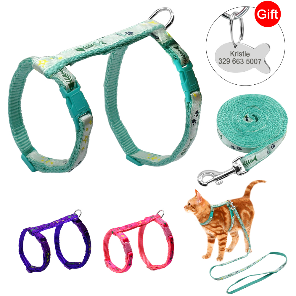 3 Colors Nylon Cat Puppy Harness Leash Lead Set Adjustable Printed Pet Traction Harnesses Belt For Cat Kitten Gift Id Tag Pink S
