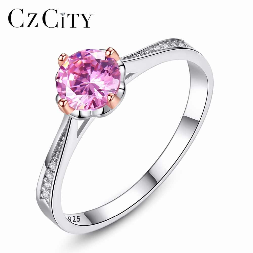 CZCITY Brands Pink Zircon Female Finger RingsRomantic 925 Sterling Silver Women Wedding Engagement Ring Fine Jewelry Brand Gift