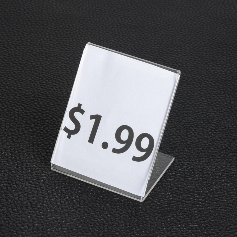20pcs 5*7CM Clear Acrylic Showcase Jewelry Price Display Stand Jewelry Organizer Namecard Price Advertisement Display Holder