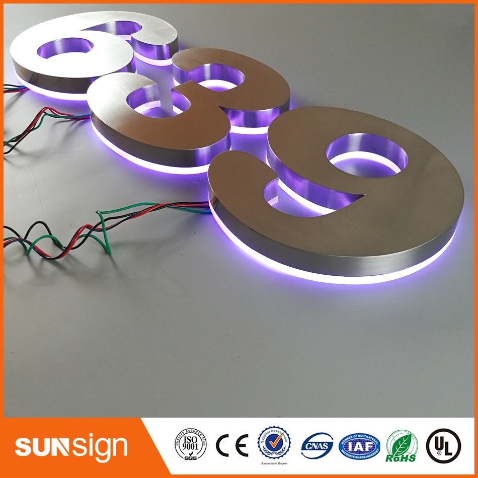 H25cm One Letter Super Quality High Brightness Hotel LED Lighted House Numbers RGB Backlit Numbers Letter