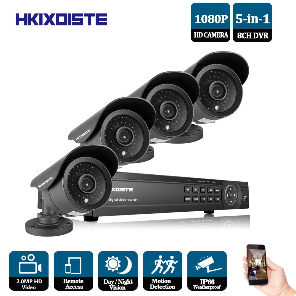 New Super Full HD AHD 8CH 8 2MP Casa Sistema de Câmera de CCTV Ao Ar Livre Canal video Surveillance camera kit de segurança 8ch 1080 p AHD DVR