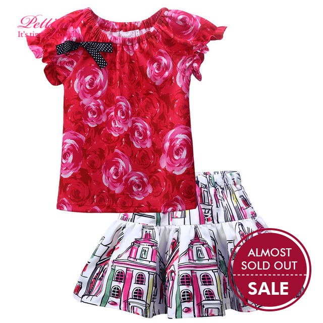 Pettigirl Promotion Floral Kids Clothing Set Girls Tops