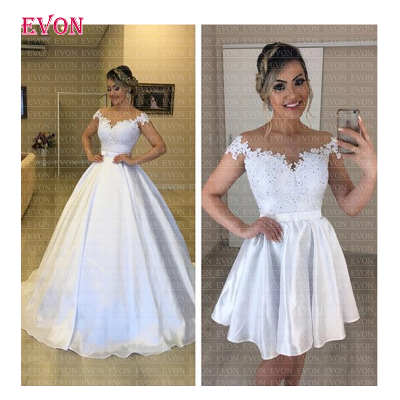 Cheap Vestido de noiva Sexy Sheer Illusion Lace Ball Gown Wedding Dress 2019 Robe De Mariee Hot 2 en 1 Boho Wedding Gowns