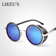 20d297b0874 LIKEU S Vintage Gothic Style Round Steampunk Sunglasses Men Women Fashion  Leather Windproof Mirrored Sun Glasses For Hip Hop