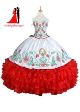 2017 New Real White Red Embroidery Quinceanera Dresses Ball Gown Sweetheart Ruffles Vestidos De 15 Anos Sweet 16