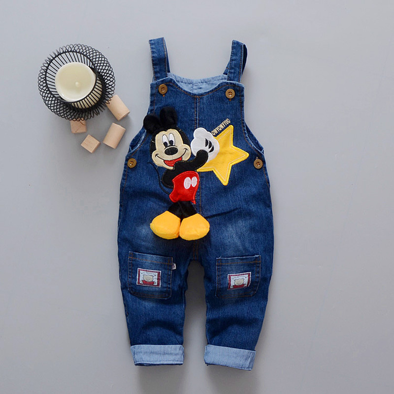 Cartoon Baby Boy Clothes Denim Pants Elastic Waist Casual Printed Toddler Pants Girls Trousers Children's Jeans For 1-4T Unisex(China)