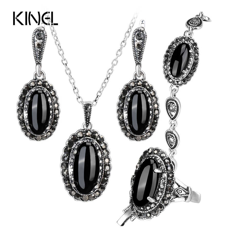 Kinel New 4Pcs Retro Jewelry Sets Black Pendant Necklace And Earring Bracelet Ring For Women Fashion Jewelry Set Gift