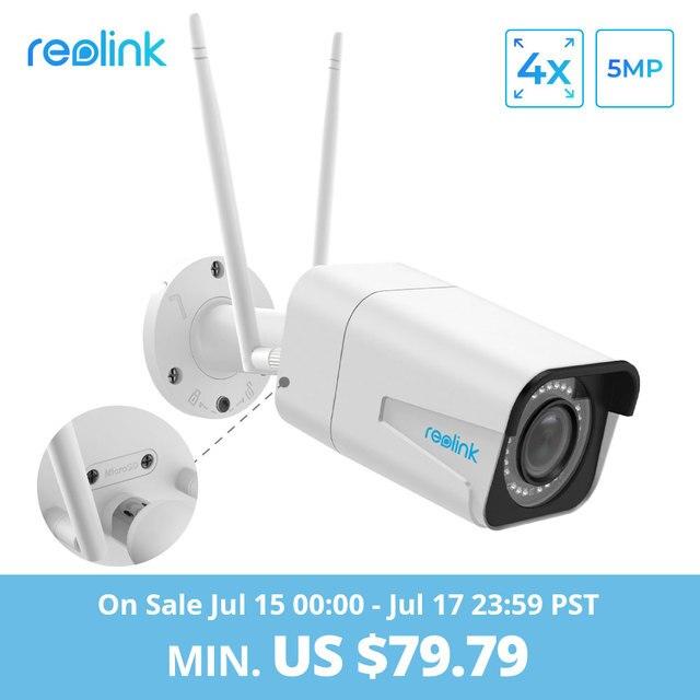 Reolink cámara de seguridad 5MP bala cámara IP WiFi 2,4G/5G HD 4x Zoom óptico incorporado tarjeta SD ranura de visión nocturna RLC-511W
