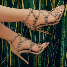 Romantic Rope Cross-tied Gladitor Sandals Sexy High-Heeled Sandals Zapatos Mujer Tacones Woman Hemp Rope Knot Chaussures Femmes