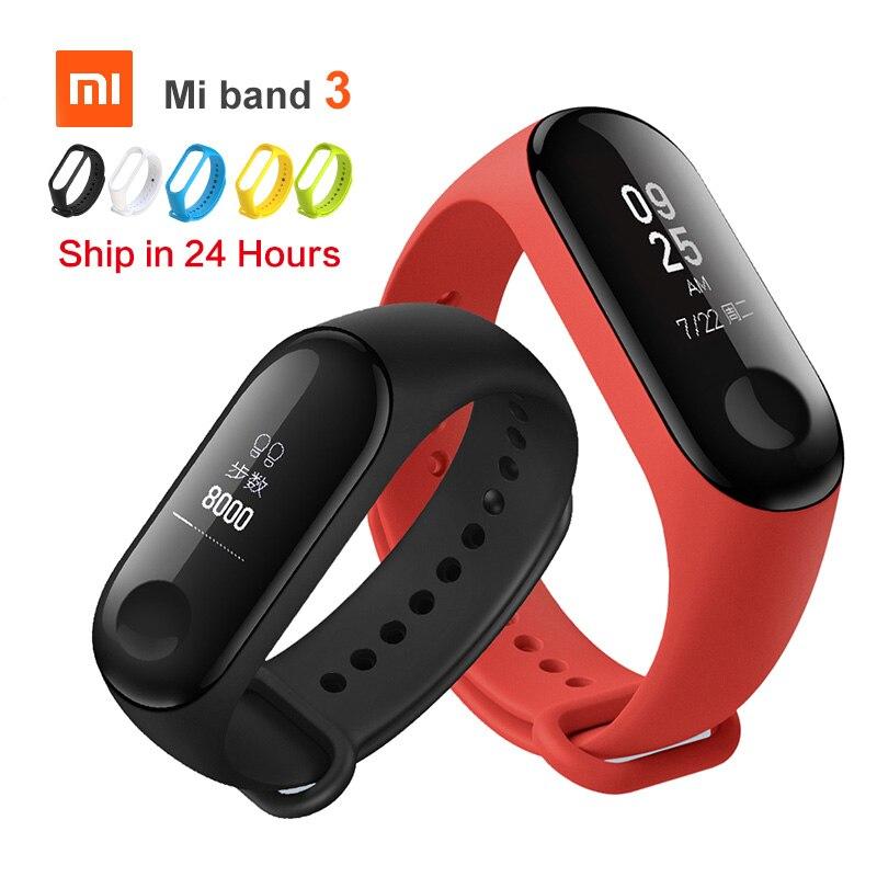 Original Xiaomi Mi Band 3 Smart miband3 pulsera de ritmo cardíaco Fitness reloj pantalla OLED de 0,78 pulgadas 20 días de espera band2 actualización