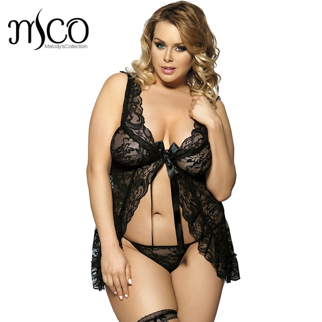 Mco Plus Size Unwrap Baby Doll Set For Women Floral Soft Lace Sexy Lingerie Hot Erotic