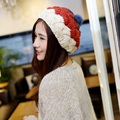 Top Fashion Colors Stitching Women Beanies New 2016 Winter Ladies Knitted Caps Lovely Hairball Ladies Skullies And Beanies CP044
