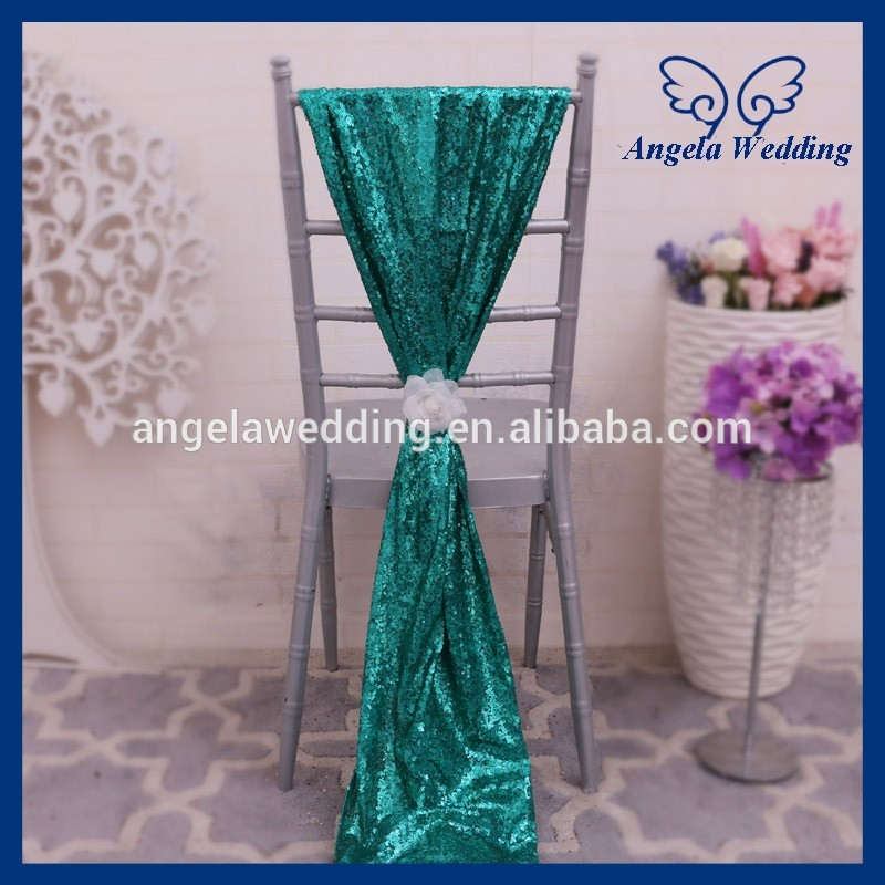 SH005C Nice new wedding emerald green sequin chair sash with flower