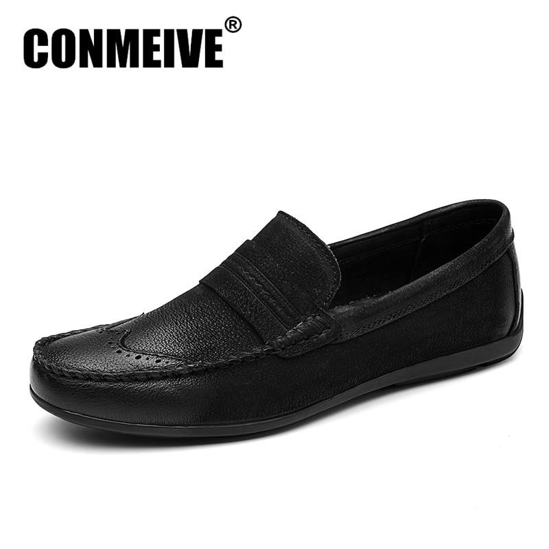 Топ Модни обувки Мъжки Марка Мека Ръчно Изработени Кожени Дишащи Ежедневни Мъжки Плоски Slip-on Mocassins Мокасини Гумени Черен Тенис