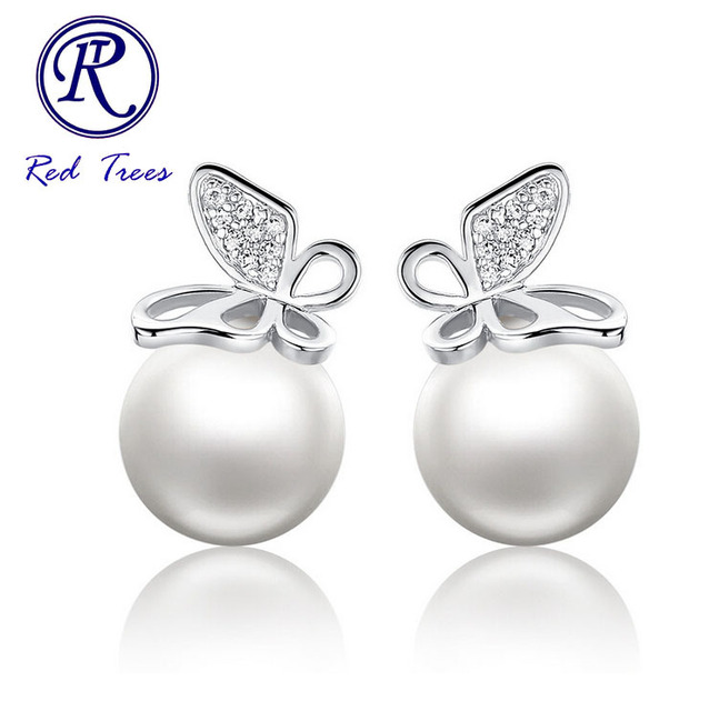 Fashion Pearl Stud Earrings High Quality White Gold Plated Jewelry Luxury Austria Crystal Erfly Earring