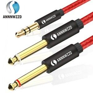 Kabel Audio 3.5mm do podwójnego 6.35mm przewód Aux 2 mono 6.5 Jack do 3.5 męski do telefonu na wzmacniacz miksujący 6.35 Adapter
