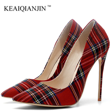 KEAIQIANJIN Women's High Heels Shoes Denim Plus Size 33 43 Sexy Woman Shoes Black Red Pointed Toe Wedding Party Pumps Stiletto cocoafoal woman silver high heels shoes stiletto plus size 33 43 44 wedding silver gold pumps pointed toe sexy valentine shoes