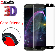 hot deal buy 3d curved tempered glass for samsung galaxy s7 edge g935f case friendly screen protector for s7 edge case fit 9h not full cover
