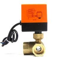 DN25(G 1) AC220V 3 way 3 wires electric actuator brass ball valve,Cold&hot water vapor/heat gas brass motorized ball valve
