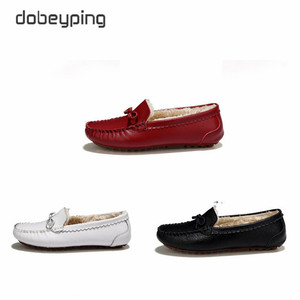 Image 2 - Winter Fur Women Loafers Slip on Leather Ladies Flats Warm Plush Driving Boat Shoes Woman Moccasins New Casual Female Solid Shoe