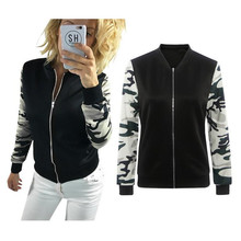 Women Jacket Tops Patchwork Camouflage Jackets Cardigan Zipper Sweatshirt Coat Baseball Uniform Outwear Womens Jacket