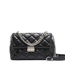 New Women's Small Fragrance Leather Crossbody Bag Shoulder Ribbed Chain Bag Mini Strap Leather Covered Pouch