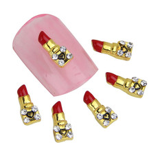 10 in a Pack Cute Lipstick Design Nail Charms