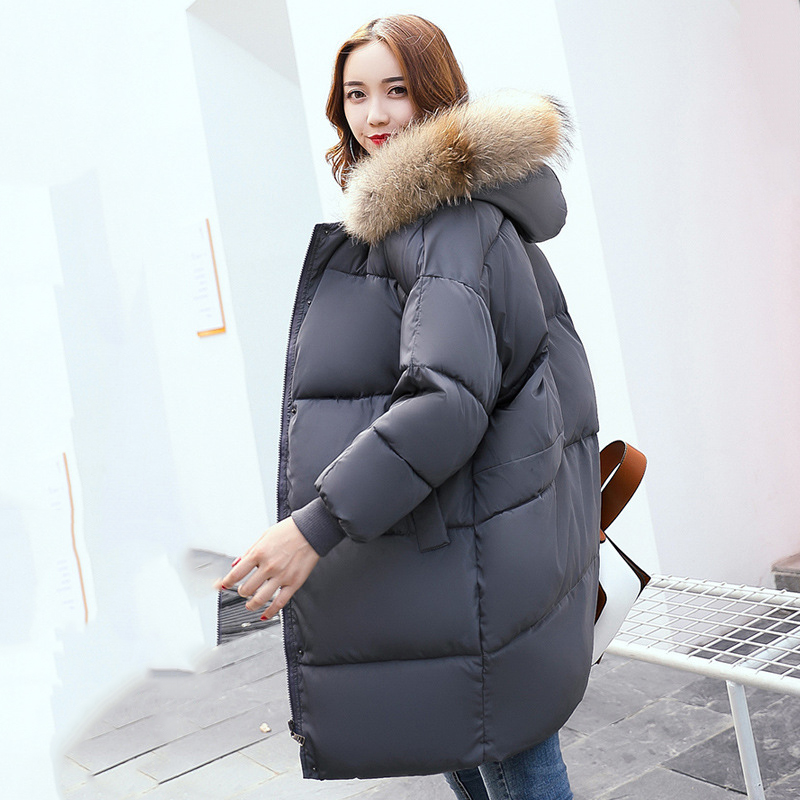 2017 Black Winter Long Jacket Women Large Fur Hooded Coat Thicken Parkas Outwear Fashion Bread Loose Style Winter Coat female смазка силиконовая grass silicone 250 мл