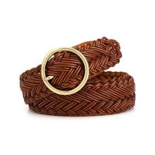 High quality women belt knitted leather belts for women good pin buckle female strap newest desgin original brand