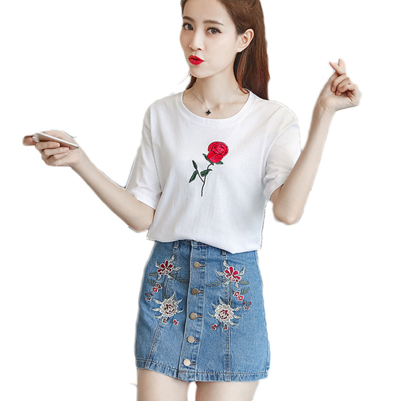 82f9f913b A Woman White Top & Denim Blue Skirt Printed Suit Spring New T-Shirt Skirt  Floral Embroidery Outfit Two Pieces Clothing Set S-XL