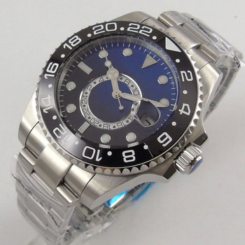 Solid BLIGER 43MM Black Blue Dial Black Ceramic Bezel GMT Indicator Sapphire Glass Luminous Automatic Movement Men's Watch B221
