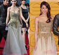 Free Shipping Best Selling A Line Sweetheart Rhinestone Beaded Floor Length Tulle Red Carpet Celebrity Long Dresses CS025