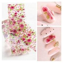 1pc Rose Nail Foil Flowers Leaf Transparent Transfer Stickers Colorful Floral Art Manicure Decoration 4*50cm