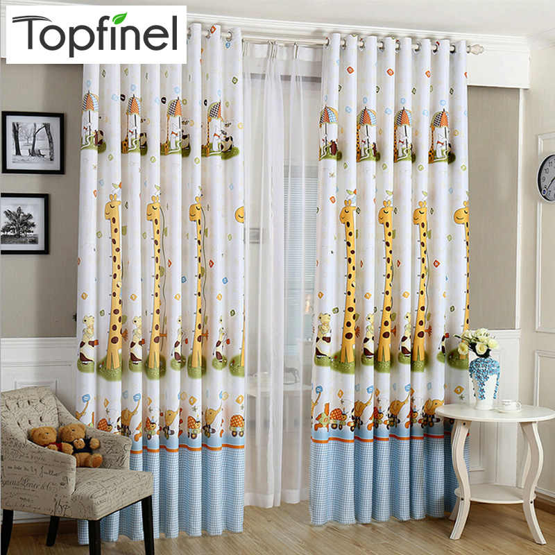 Topfinel giraffe modern shade blinds thick window blackout curtains for children living room the bedroom kids fabric rideaux