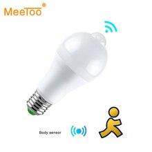 Светодиодная Ночная лампа E27 с пассивным ИК датчиком движения, светильник с ВКЛ./ВЫКЛ., B22, лампа с детектором движения тела