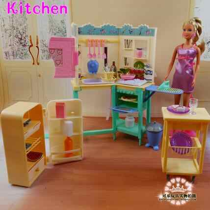 for barbie kitchen Miniature Furniture My Fancy Life Kitchen for Barbie Doll House Best Gift Toys for Girl Free Shipping