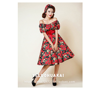 Europe retro Vintage 50s 60s Audrey Hepburn dress Rose Print Slash neck Short sleeve Empire Dresses