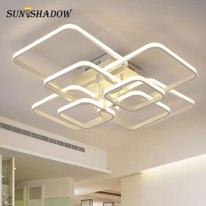 Image 3 - לבן & קפה טבעות מודרני LED נברשת לסלון חדר שינה בית נברשת תקרת גופי אקריליק Led נברשת מנורה