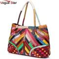 Vogue Star Hot Sale Women Handbag Casual OL Lady Purse Patchwork Handbags Tote Genuine leather Shoulder Bag Colorful  YA40-208