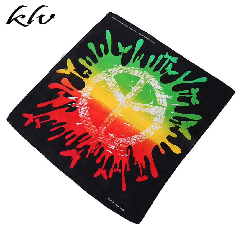 55x55cm Unisex Graffiti Rainbow Colored Square Bandana Peace Symbol Print Sports Hip Hop Headwrap Street Cycling Scarf Wristband